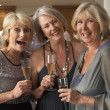 Friends Enjoying A Glass Of Champagne At A Dinner Party - Stock Photo