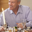 Man Eating Dinner At Home — Stock Photo