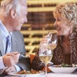 Senior Couple Having Dinner Together At A Restaurant — Stock Photo