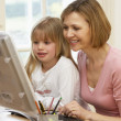 WomAnd Daughter Using Computer — Stock Photo #4789448
