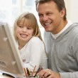 Father And Daughter Using Computer — Stock Photo #4789468