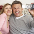 Stock Photo: Couple With Video Camera