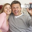 Couple With Video Camera — Stock Photo