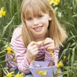 Young Girl In Daffodils At Easter — Stock Photo