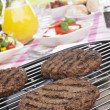 Stock Photo: Burgers Cooking On Barbeque Grill