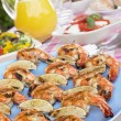 Al Fresco Dining With Prawn Skewers — Stock Photo