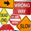 Stock Photo: Group Of Road Signs