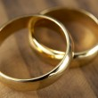 Two Wedding Rings Resting Together — Stock Photo