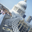 St Paul's Cathedral And Millennium Footbridge - Stock Photo