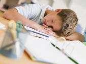 Young Boy Asleep On His Schoolbooks — Stock Photo