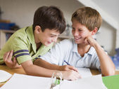 Two Young Boys Doing Their Homework Together — Stock Photo