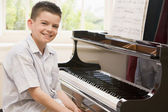 Boy Playing Piano — Stock Photo