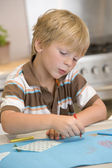 Young Boy Drawing Pictures — Stock Photo