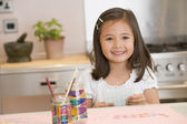 Young Girl Drawing Pictures — Stock Photo