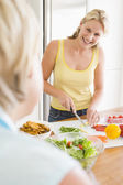 Woman Talking To Friend While Preparing meal,mealtime — Stock Photo