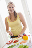 Woman Preparing meal,mealtime , — Stock Photo