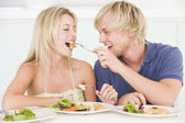 Young Couple Enjoying meal,mealtime Together — Stock Photo