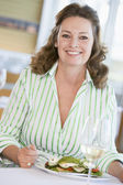 Woman Enjoying meal,mealtime With A Glass Of Wine — Stock Photo