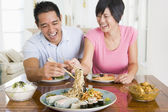 Young Couple Enjoying Chinese Food — Stock Photo