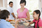 Family In The Kitchen Eating Breakfast — Stock Photo