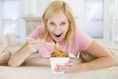 Woman Eating meal,mealtime With Chopsticks — Stock Photo