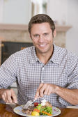 Man Eating Healthy meal,mealtime Together — Stock Photo