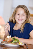 Young Girl Eating meal,mealtime — Stock Photo