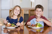 Brother And Sister Eating meal,mealtime Together — Stock Photo