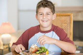 Young Boy Eating meal,mealtime — Stock Photo