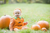 Baby boy outdoors in pumpkin costume with real pumpkins — Stock Photo