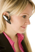 Businesswoman Talking On Hands Free Phone — Stock Photo