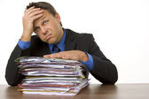 Businessman Overwhelmed By Paperwork — Stock Photo