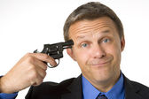 Businessman Holding Gun To Head — Stock Photo
