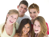 Five friends together smiling — Stock Photo