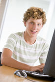 Teenage Boy Using Desktop Computer — Stock Photo