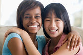 Two Teenage Girls Smiling — Stock Photo