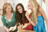 Teenage Girls Making Sandwiches — Stock Photo