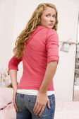 Teenage Girl Worried About The Size Of Her Behind — Stock Photo