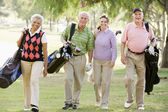 Portrait Of Four Friends Enjoying A Game Golf — Stock Photo
