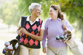 Female Friends Enjoying A Game Of Golf — Stock Photo