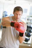 Man Boxing At Gym — Stock Photo