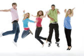 Teenagers Jumping In The Air — Stock Photo