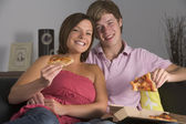 Teenage Couple Enjoying Pizza — Stock Photo