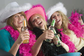 Dressed Up Teenage Girls Enjoying Drinks — Stock Photo
