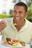 Mid Adult Man Dining Al Fresco — Stock Photo
