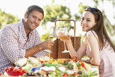 Couple Eating An Al Fresco Meal, Toasting With Wineglasses — Stock Photo