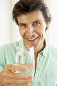Mid Adult Man Drinking A Glass Of Water — Stock Photo