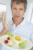 Middle Aged Man Holding A Plate Of Fresh And Healthy Food — Stock Photo