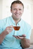 Mid Adult Man Drinking Tea — Stock Photo