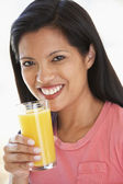 Mid Adult Woman Drinking Fresh Orange Juice — Stock Photo